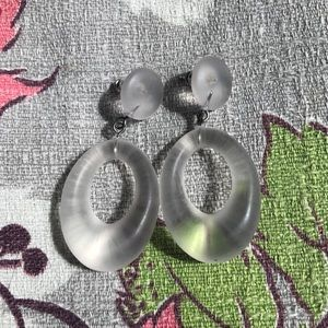 Vintage 80's Frosted Lucite Earrings